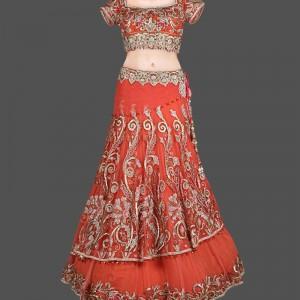 Voguish Orange Double Layer Lehenga With Resham & Pearl Hand Embroidery Work