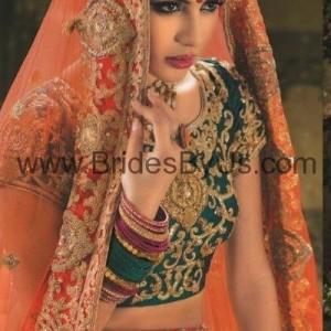 Orange Pink Green Bridal Lehenga