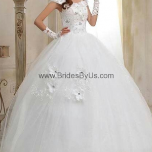Hot Selling Floral Ball Wedding Gown With Lace-Tie Back