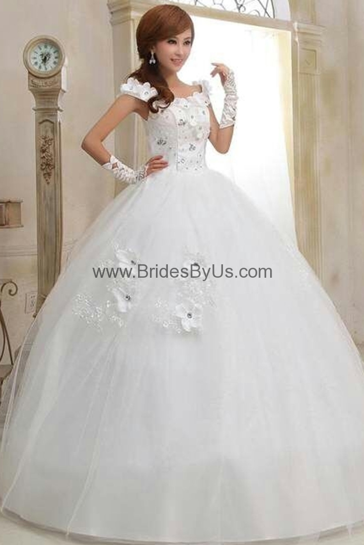 Hot Selling Floral Ball Wedding Gown With Lace-Tie Back - BridesByUs