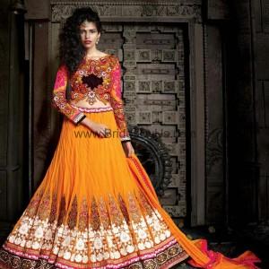 Impressive Orange Lehenga Choli With Patch Work