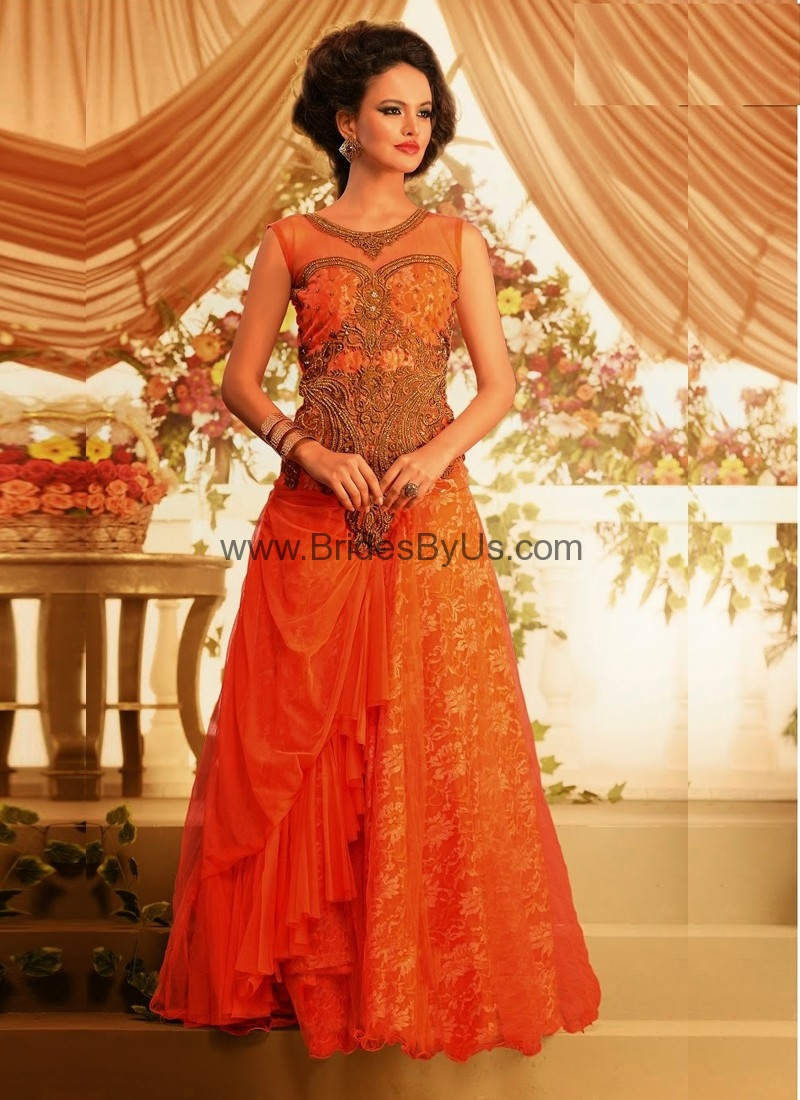 Orange Jacquard Gown With Embroidery Work Bridesbyus
