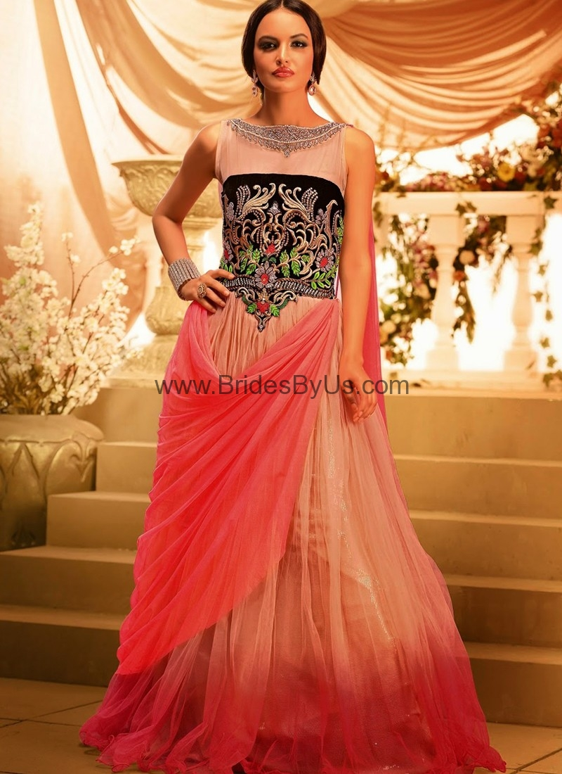 Pink Net Gown With Embroidery Work Bridesbyus