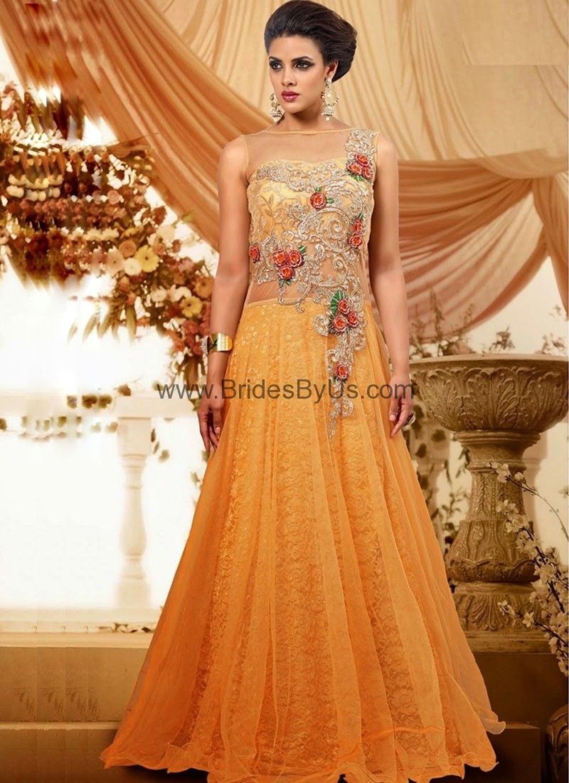 Yellow Net Gown With Embroidery Work Bridesbyus