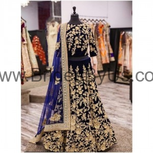 Floral golden pattern on Black velvet Lehenga contrast with dark blue dupatta